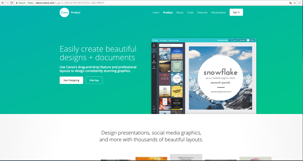 Graphic design software: Canva screenshot