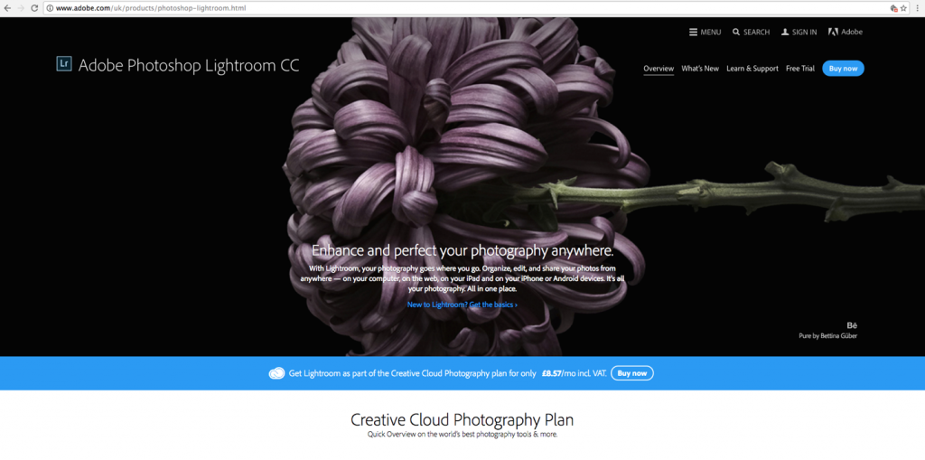 Screenshot of Adobe Lightroom CC, a photo editing software